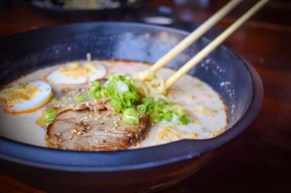 Downtown Long Beach's Gu Ramen, based out of Laguna Beach, and their bowl of Hakata ramen. Photo by Brian Addison.