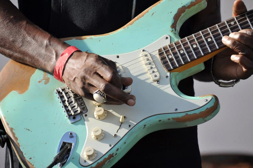 Dennis Jones performs during the New Blues Festival V at El Dorado Park in Long Beach, Ca., September 1, 2018. (John Valenzuela/ Correspondent)