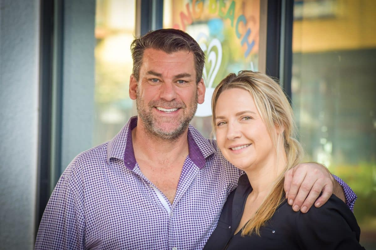 Long Beach Coffee & Tea's owners, Tom West [left] and Shannon Francis [right]. Photo by Brian Addison.