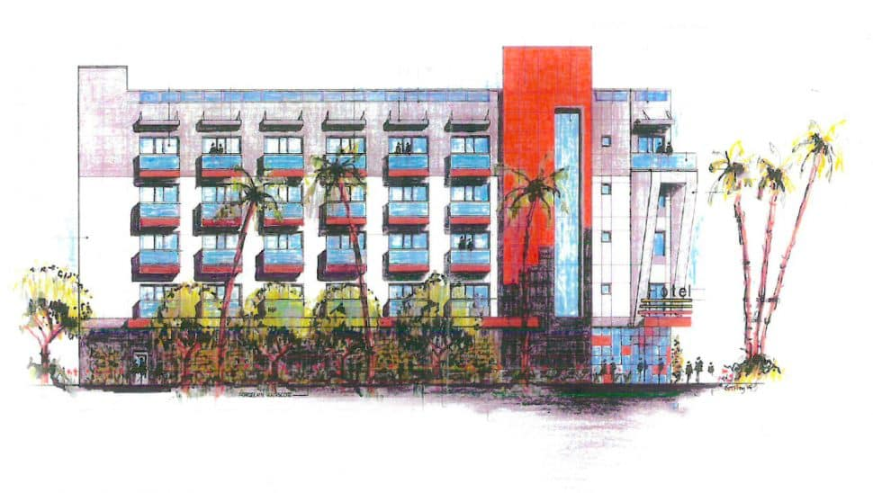 A rendering of the new 34-room boutique hotel being built in Downtown Long Beach. Rendering courtesy of Gilmar.