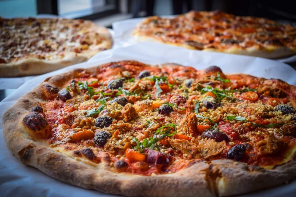 The Frailty, 4th Horseman's vegan pizza with vegan parmesan and vegan sausage. Photo by Brian Addison.
