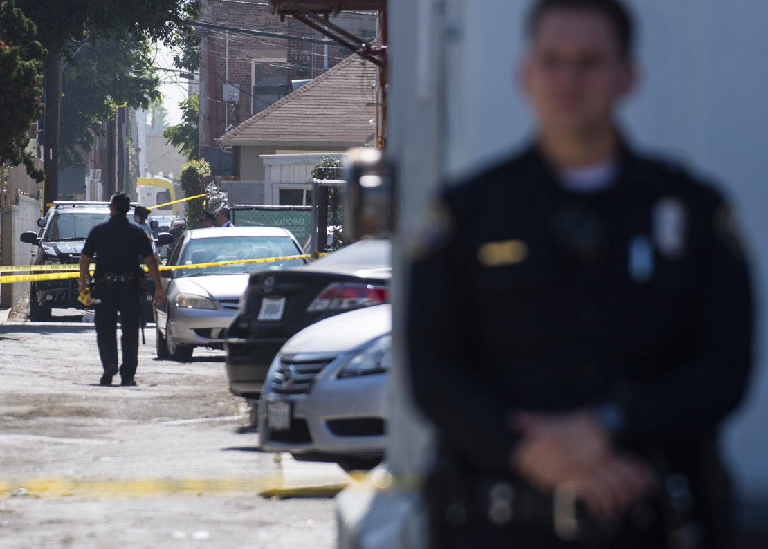File photo of a Long Beach police officer at a crime scene on July 11, 2019. Photo by Thomas R. Cordova.