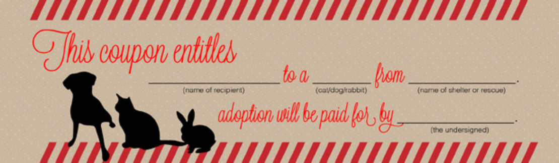 Coupon for a pet adoption, with silhouettes of a dog, a cat and a rabbit, offering to pay adoption fee