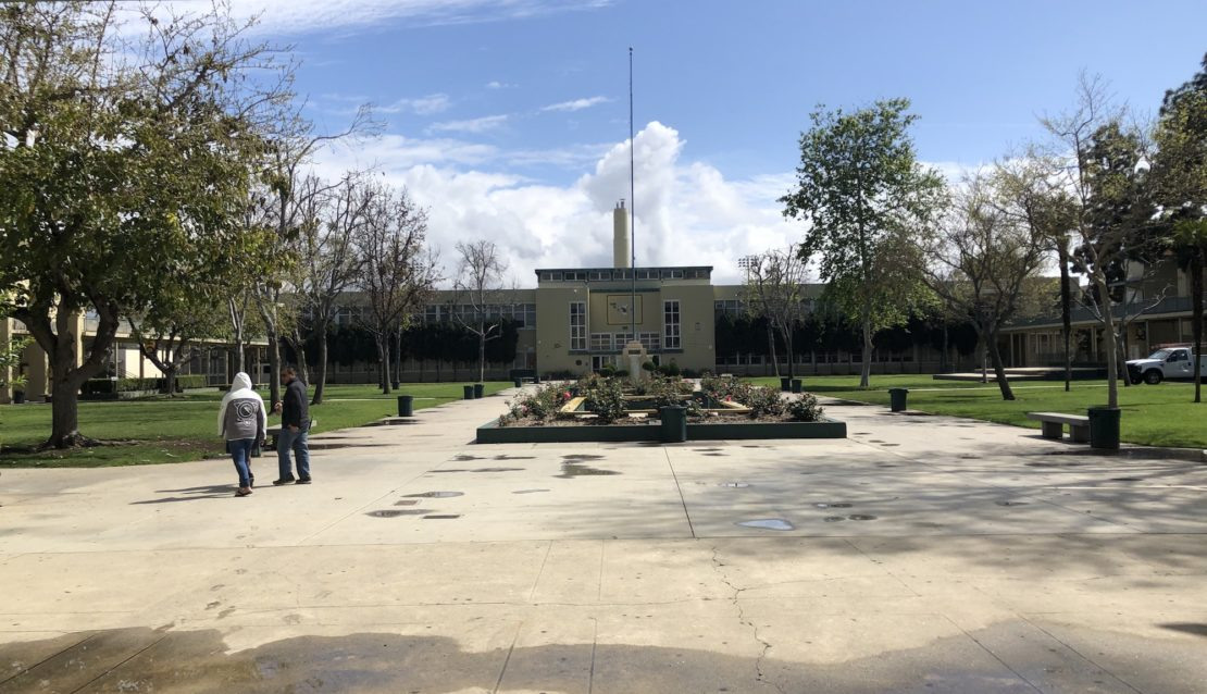 Normally packed Long Beach Poly on the first day of COVID-19 school closures. Photo by Mike Guardabascio.