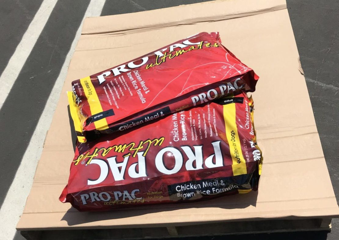 Two large red bags of dog food sit on a pallet in a parking lot.