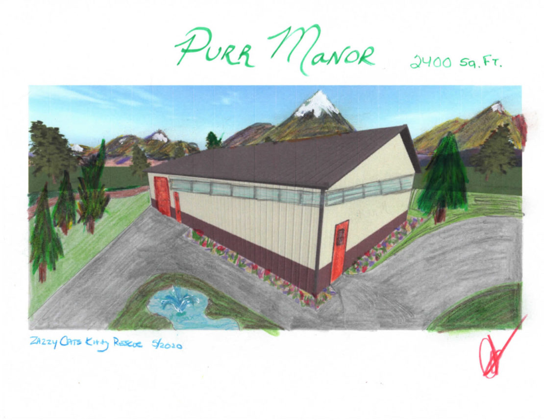 drawings of Purr Manor: the planned outside, the inside sketches