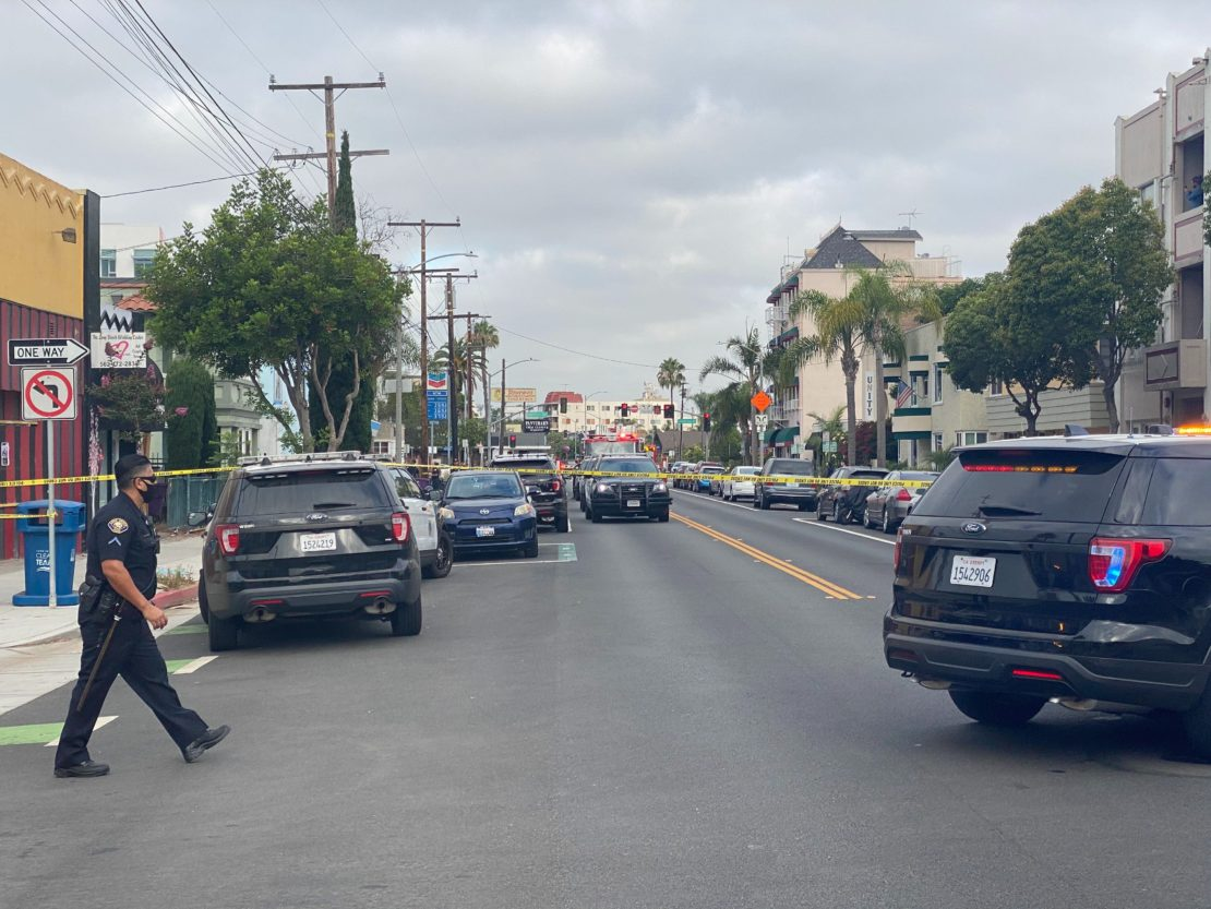 Police block off Broadway in Alamitos Beach while they search for a burglary suspect on July 14, 2020. Photo by Brian Addison.