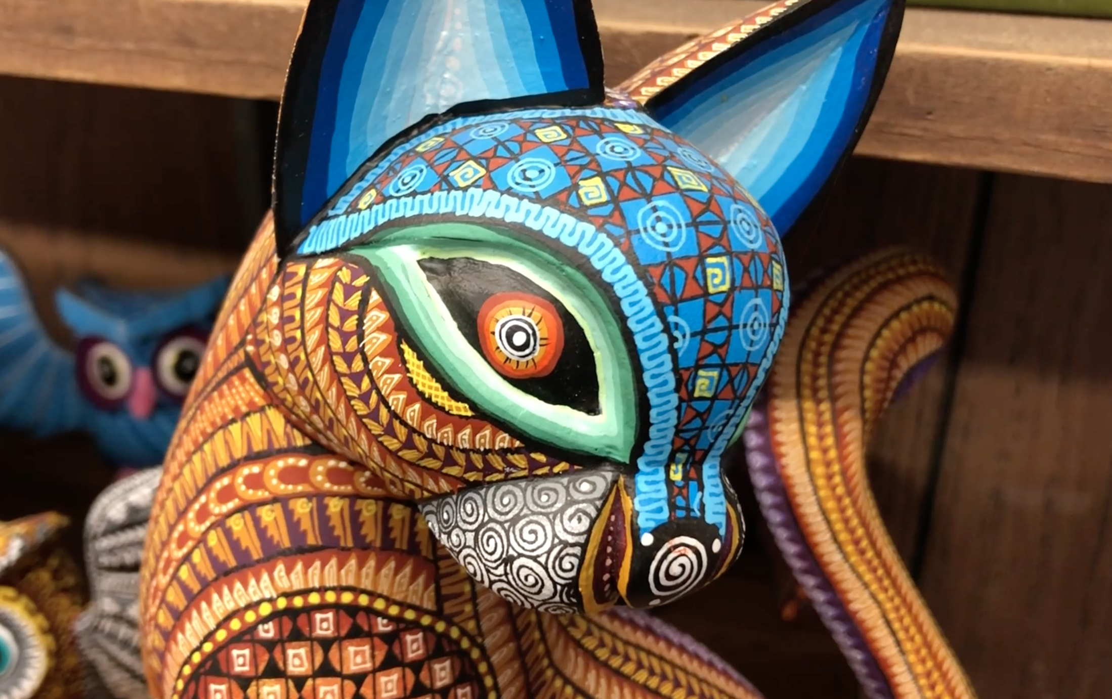 CoCo Dog-Wood Carving Alebrije Sculpture from Oaxacan Artisans.
