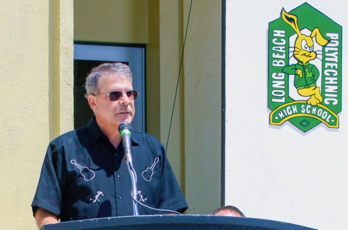 Andy Osman speaks at Poly High School. Courtesy Brian Dokko.
