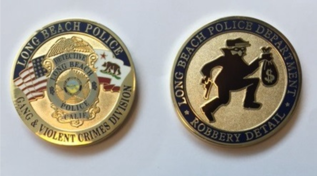 The Long Beach Police Department robbery detail was selling this department-approved challenge coin for $10 in 2015, according to public records obtained by the Long Beach Post.
