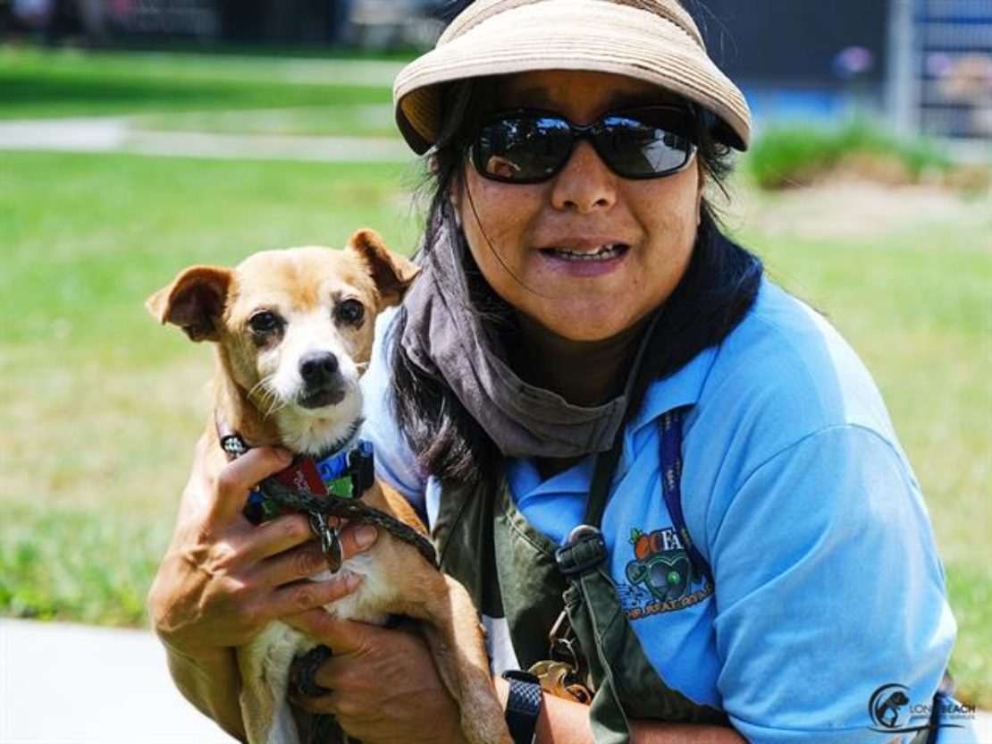 Woman in sunglasses, visor and light-blue jacked holds small brown dog against a background of grass.