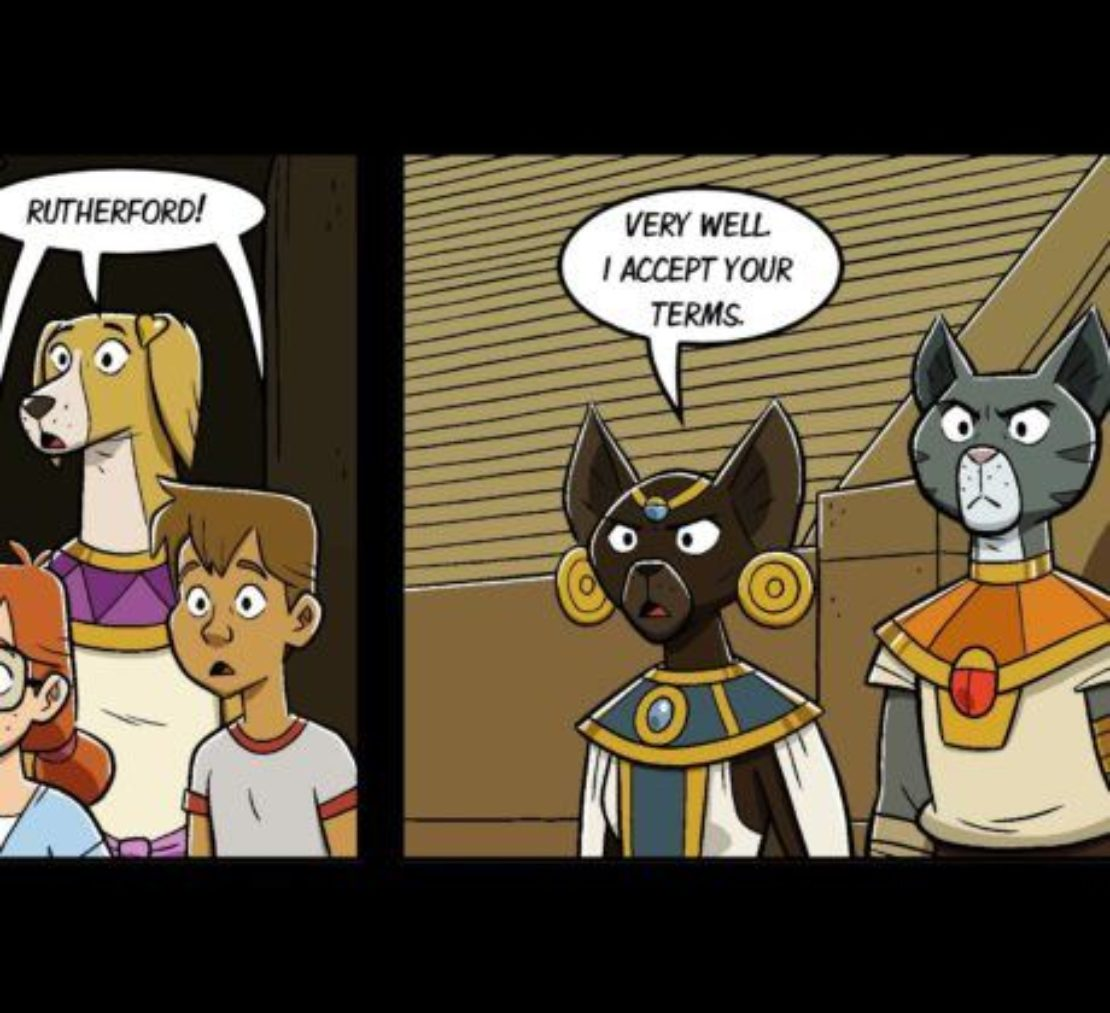 Cartoon showing a cat with large gold earrings standing next to a gray-and-whtie cat