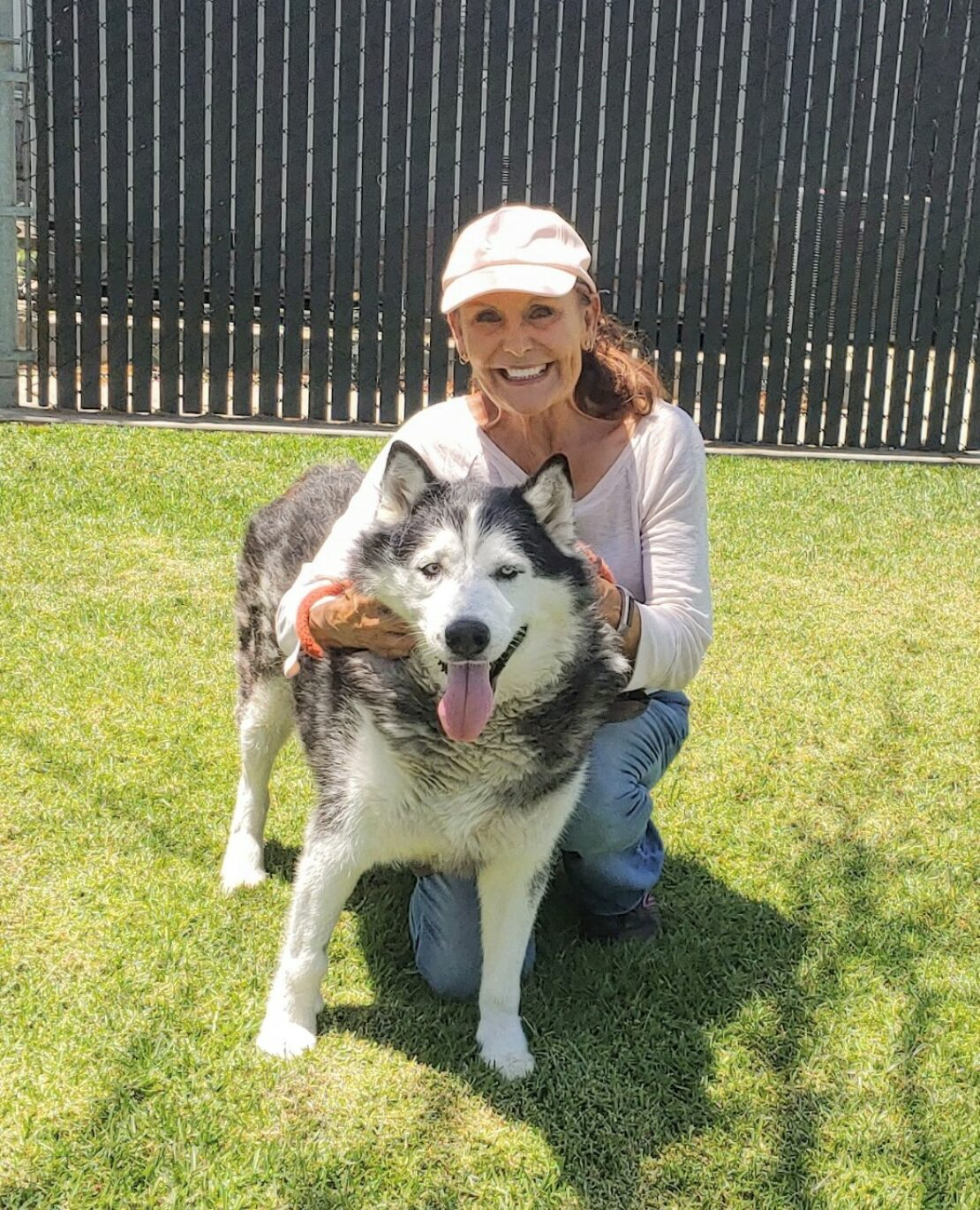 woman in pink cap and pink shirt squats on grass next to a husky with white legs and gray yead and body.