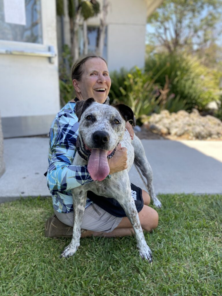 woman with hair pulled back and wearing multicolor blouse sits with a big open smile on her face and arms around a white pit bull with black ears and a long, pink tongue hanging out. They both sit on grass in front of a cement walkway.