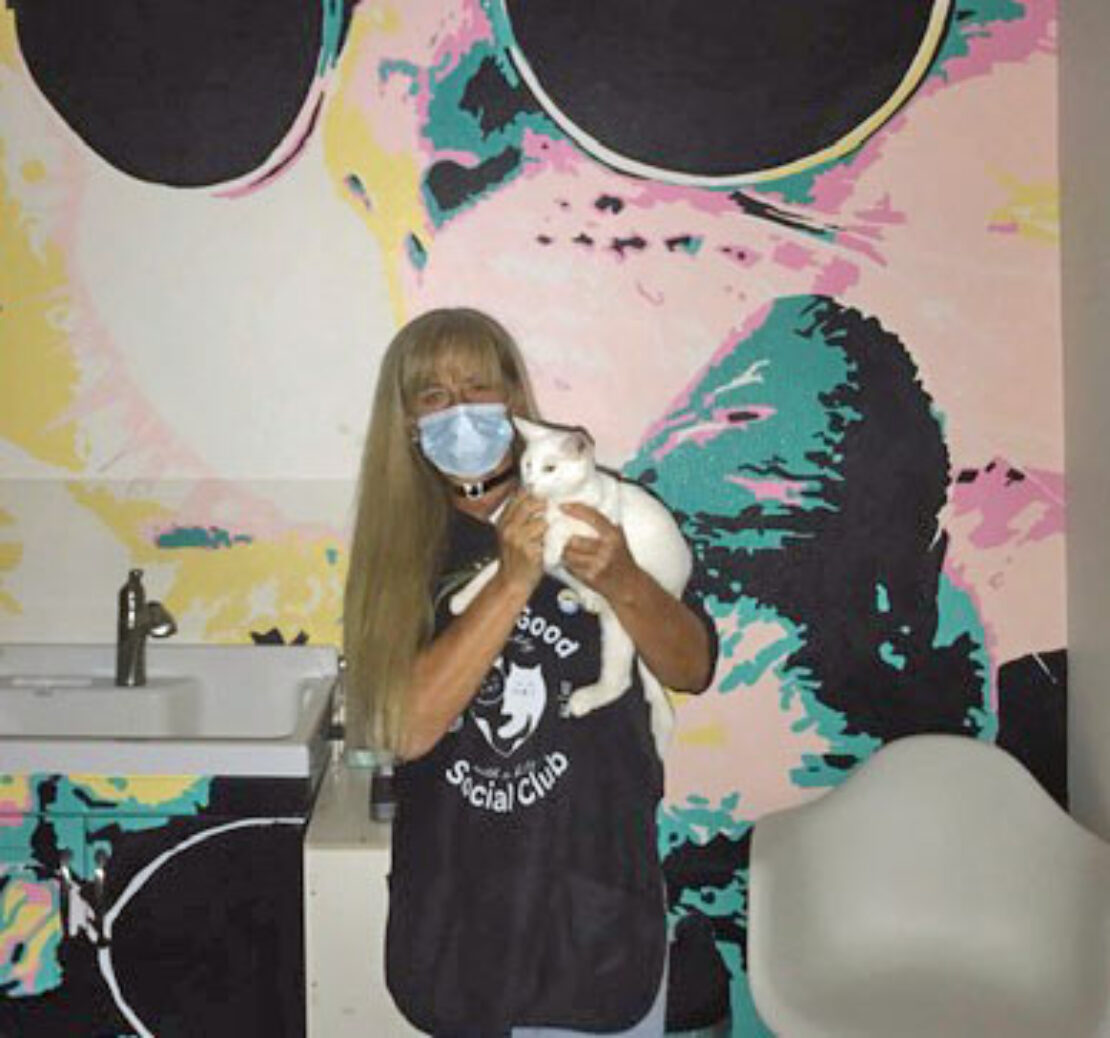 Woman with long, blond hair and face mask, with black T-shirt advertising the Feline Good Social Club, holds little white cat. They stand in front of a mural.