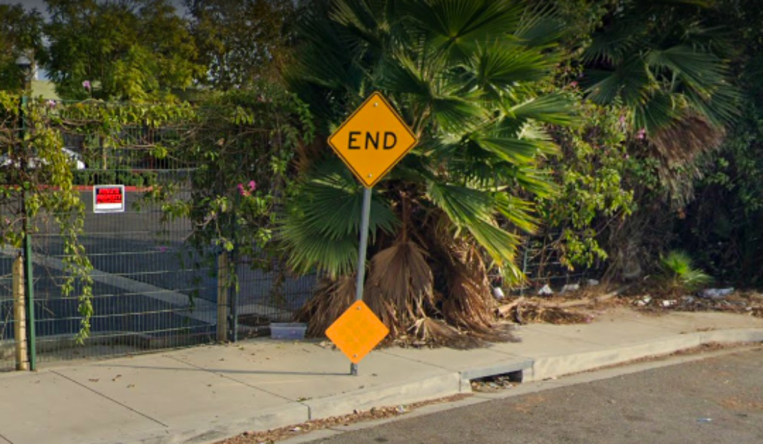 The end of the boulevard.
