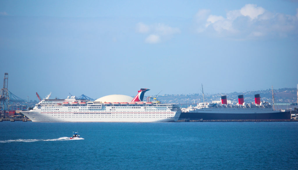 Carnival Cruise Ship and Queen Mary